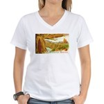 Hearty Thanksgiving Greetings Women's V-Neck T-Shi