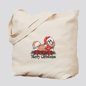 Poinsettia Shih Tzu Tote Bag