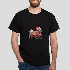 Poinsettia Shih Tzu Dark T-Shirt