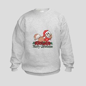 Poinsettia Shih Tzu Kids Sweatshirt