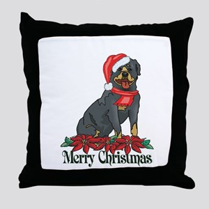 Poinsettia Rottweiler Throw Pillow