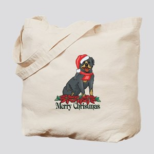Poinsettia Rottweiler Tote Bag