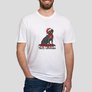 Poinsettia Rottweiler Fitted T-Shirt