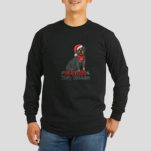 Poinsettia Rottweiler Long Sleeve Dark T-Shirt