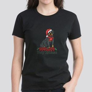 Poinsettia Rottweiler Women's Dark T-Shirt