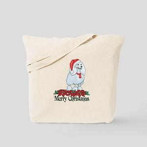Poinsettia Poodle Tote Bag