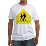 School Crossing Sign Fitted T-Shirt