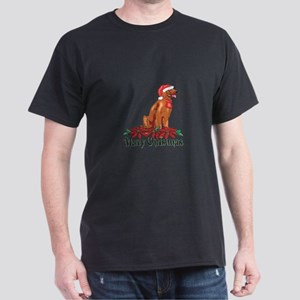 Poinsettia Irish Setter Dark T-Shirt
