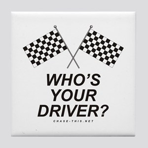 Checker Flag Driver Tile Coaster