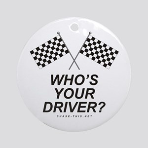 Checker Flag Driver Ornament (Round)