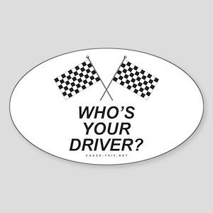Checker Flag Driver Oval Sticker