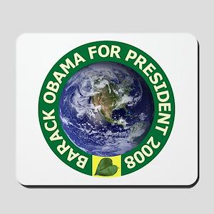 Obama Earth Green Rim Mousepad