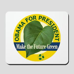 Obama Green Leaf Yellow Mousepad