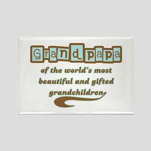 Grandpapa of Gifted Grandchildren Rectangle Magnet