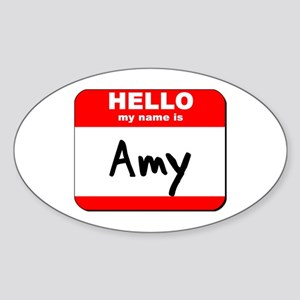 Hello my name is Amy Oval Sticker