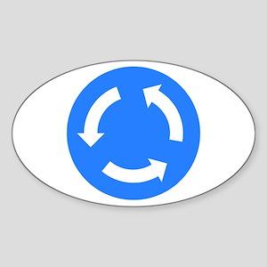Roundabout Sign - Oval Sticker
