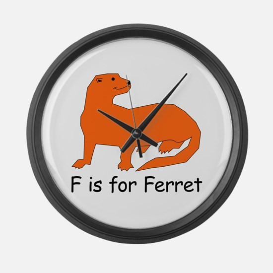 F is for Ferret Large Wall Clock