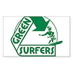 Green Surfers Rectangle Sticker 10 pk)