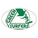 Green Surfers Oval Sticker (10 pk)