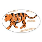 Tiger Facts Oval Sticker (10 pk)