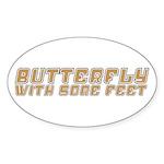 Butterfly with Sore Feet Sticker (Oval 50 pk)