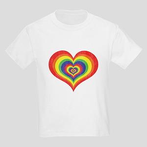 Retro Rainbow Heart Kids Light T-Shirt