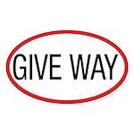 Give Way Oval Sticker (50 pk)