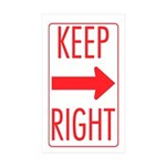 Keep Right Rectangle Sticker 50 pk)