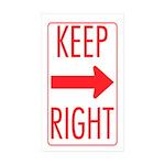 Keep Right Rectangle Sticker 10 pk)
