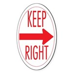 Keep Right Oval Sticker (50 pk)