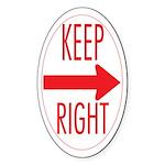 Keep Right Oval Sticker (50 pk)