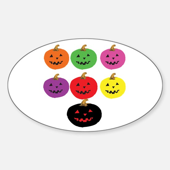 Colorful Pumpkins Oval Decal