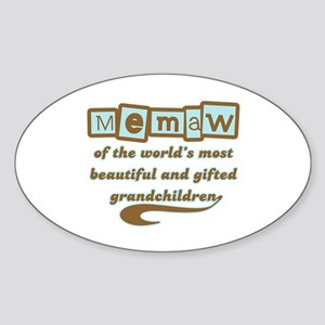 Memaw of Gifted Grandchildren Oval Sticker