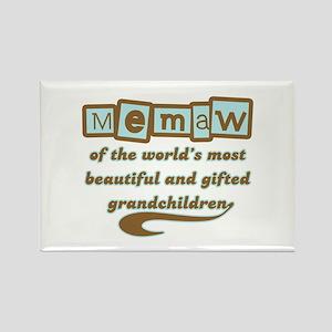 Memaw of Gifted Grandchildren Rectangle Magnet