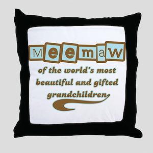 Meemaw of Gifted Grandchildren Throw Pillow