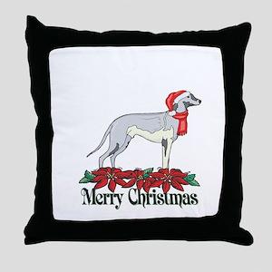 Poinsettia Grayhound Throw Pillow