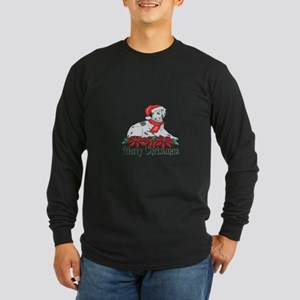 Poinsettia Dalmatian Long Sleeve Dark T-Shirt