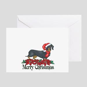 Poinsettia Dachshund Greeting Card