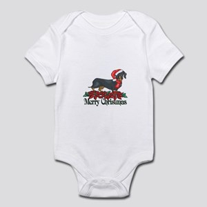 Poinsettia Dachshund Infant Bodysuit