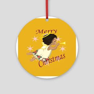 Flying Black Angel Christmas Ornament (Round)