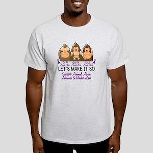 See Speak Hear No Animal Abuse 2 Light T-Shirt