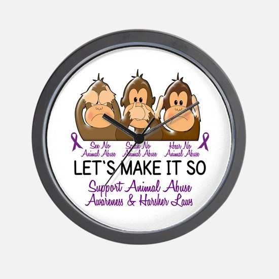 See Speak Hear No Animal Abuse 2 Wall Clock