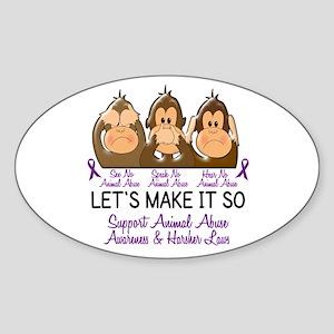 See Speak Hear No Animal Abuse 2 Oval Sticker