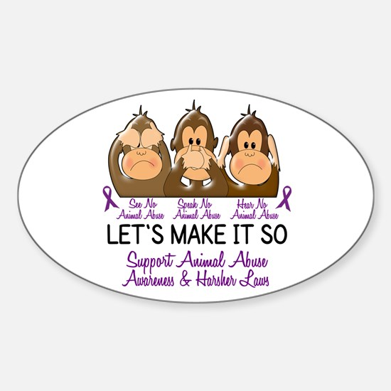 See Speak Hear No Animal Abuse 2 Oval Decal