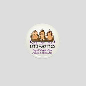 See Speak Hear No Animal Abuse 2 Mini Button