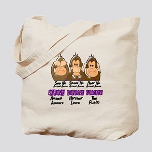 See Speak Hear No Animal Abuse 3 Tote Bag