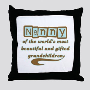 Nanny of Gifted Grandchildren Throw Pillow