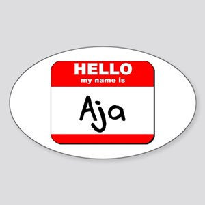 Hello my name is Aja Oval Sticker