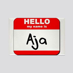 Hello my name is Aja Rectangle Magnet