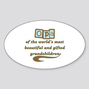 Opa of Gifted Grandchildren Oval Sticker